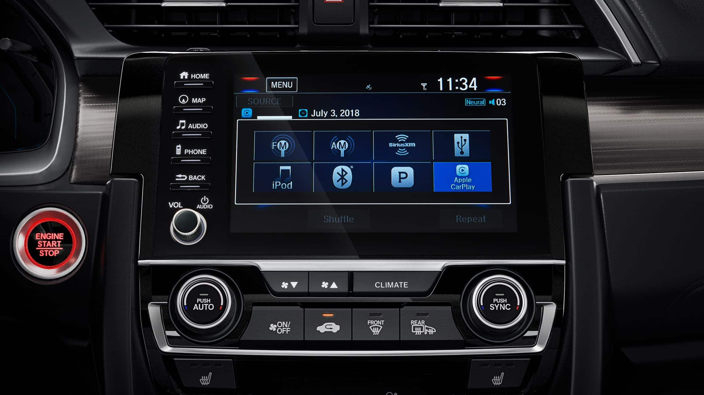 Display Audio touch-screen detail in the 2020 Honda Civic Touring Sedan.