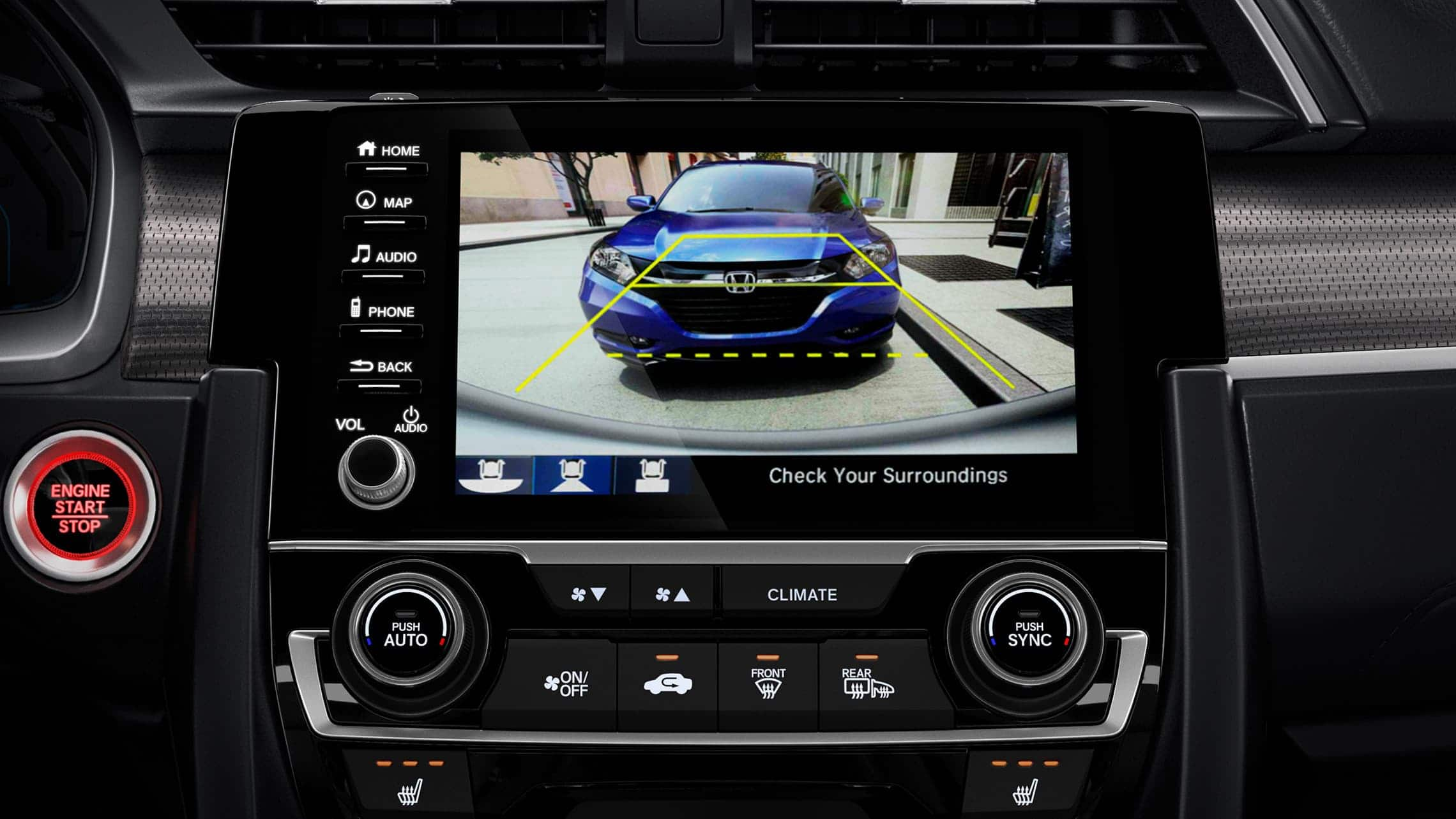 Multi-angle rearview camera detail on Display Audio touch-screen in the 2020 Honda Civic Touring Sedan.