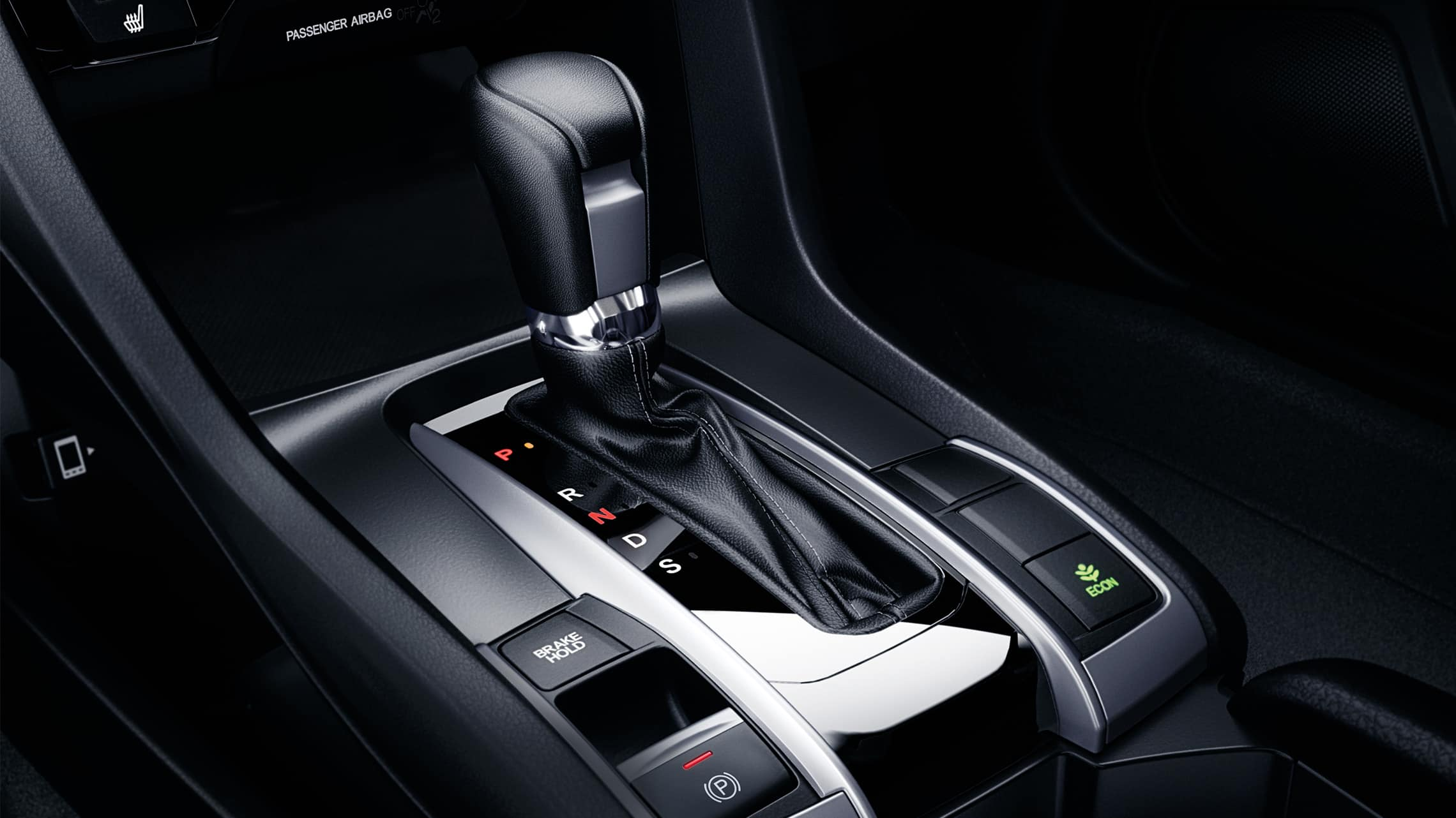 CVT shifter detail in the 2020 Honda Civic Touring Coupe.
