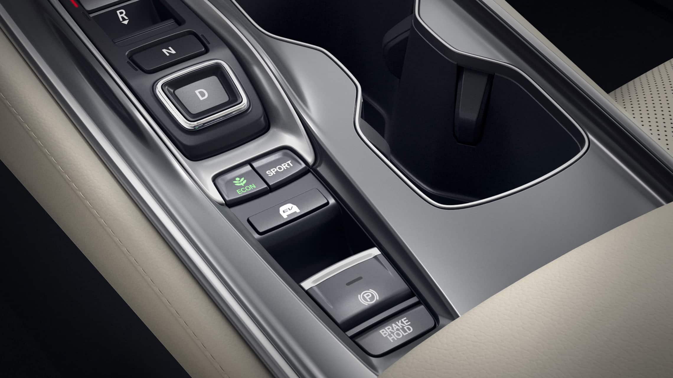 EV mode selector detail in the 2021 Honda Accord Hybrid Touring.
