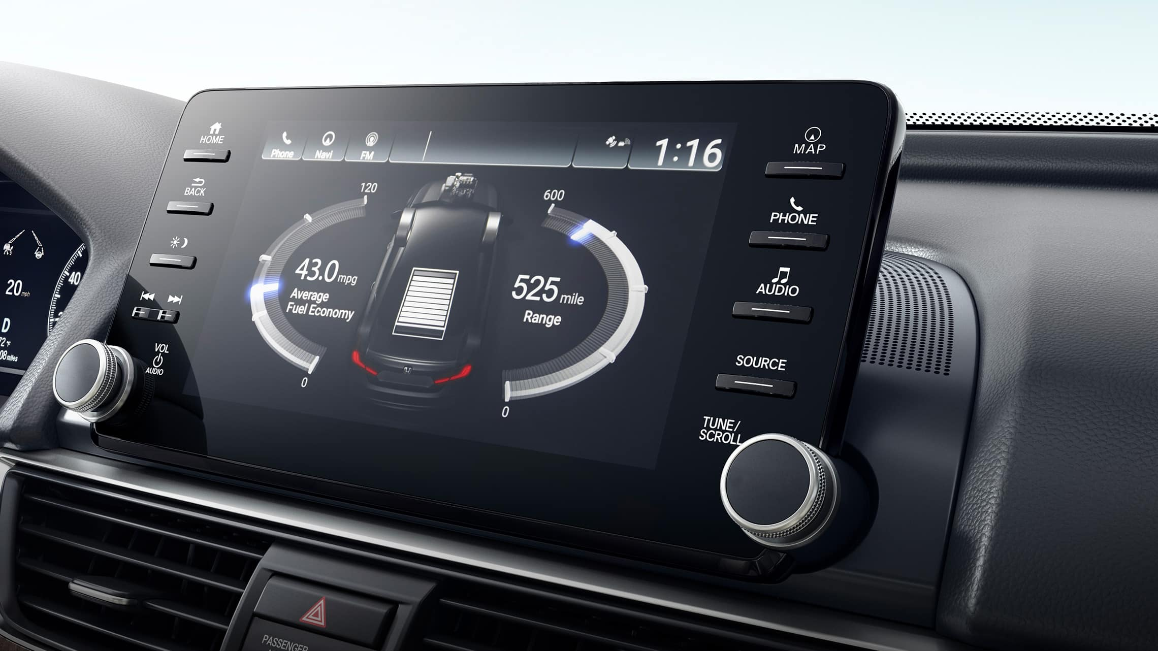 Display Audio touch-screen detail displaying hybrid power flow in the 2021 Honda Accord Hybrid Touring.