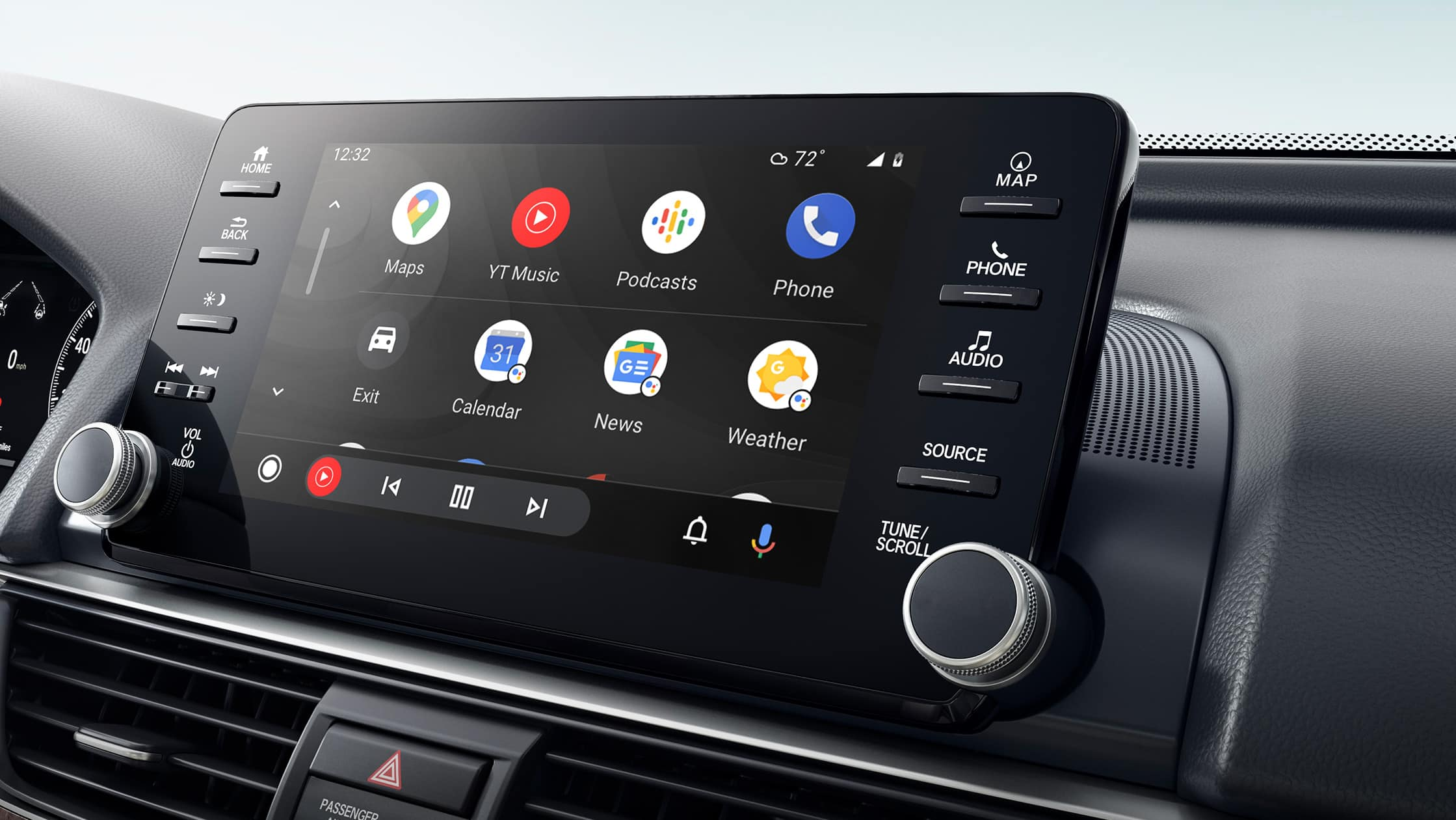 Wireless Android Auto™ integration detail on Display Audio touch-screen in the 2021 Honda Accord Touring 2.0T.